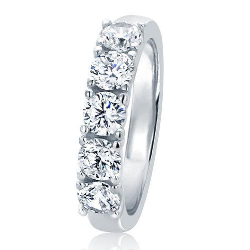925 Sterling Silver CZ Stone 5 Stone Diamond Simulant CLASSIC design Ring