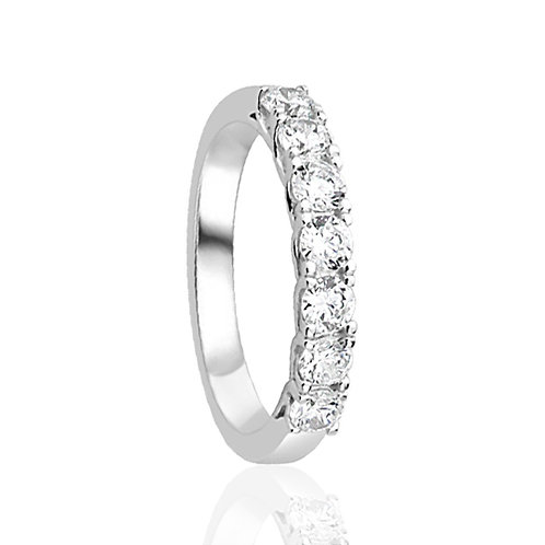 7 Stone Sterling Silver Wedding Band, CZ Diamond Simulant Promise Ring for Women