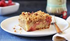 RHUBARB & PECAN CRUST CAKE TOPPING CAKE