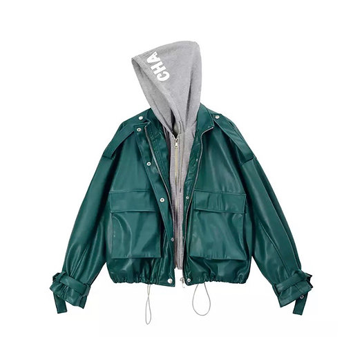CHA HOODED FAUX LEATHER JACKET