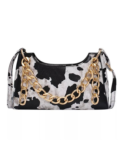 COW PRINT CHAIN CROSSBODY BAG