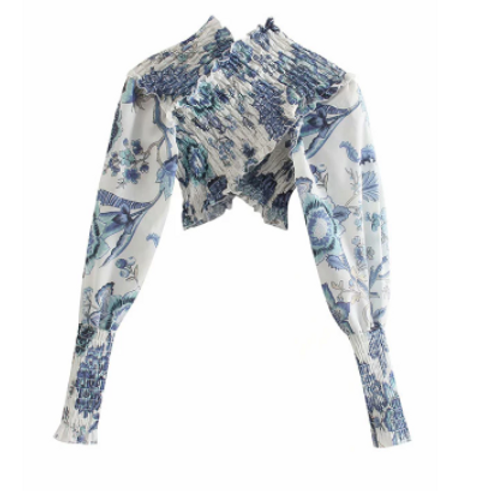 GINA FLORAL CROPPED RUFFLE BLOUSE