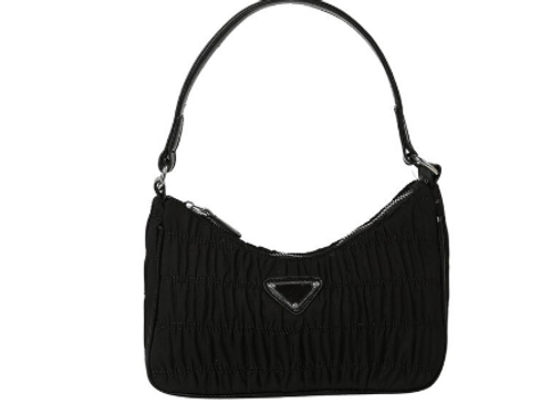 TEXTURED NYLON SHOULDER BAG