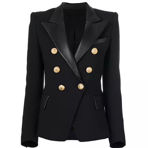 LEATHER COLLAR DOUBLE BREASTED BUTTON BLAZER