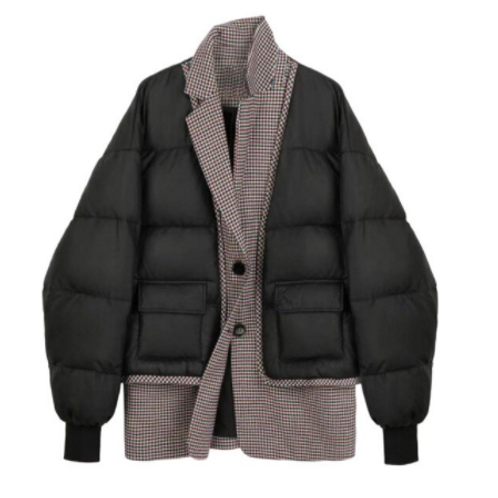 CHECKED PUFFER BOMBER