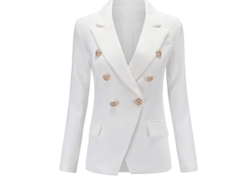 MIMODE DOUBLE BREASTED BUTTON BLAZER - WHITE