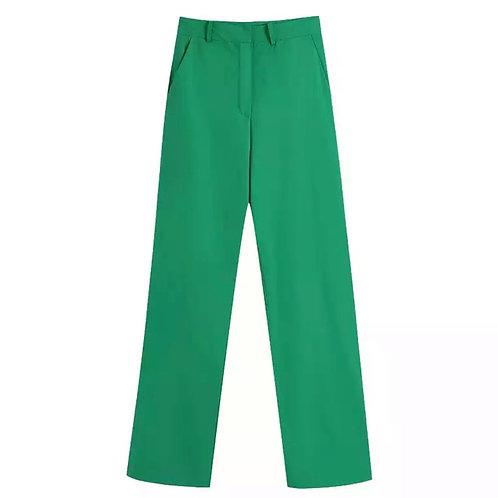WIDE LEG DRESS TROUSERS - GREEN