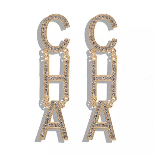 """CHA"" ""CHA"" GOLD RHINESTONE EARRINGS"