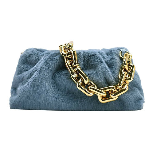 FAUX FUR CHAIN POUCH