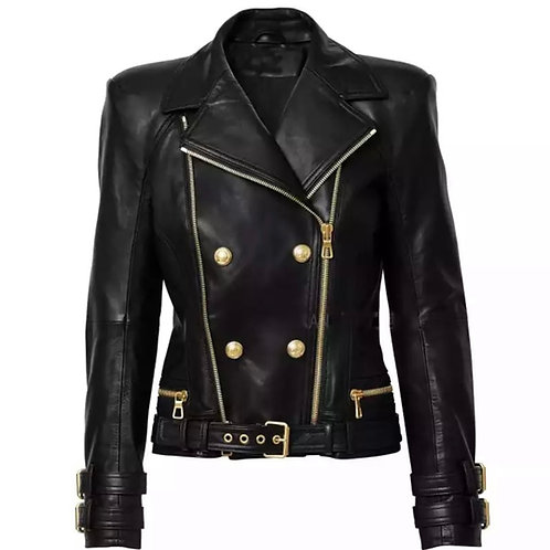 DOUBLE BREASTED BUTTON LEATHER JACKET