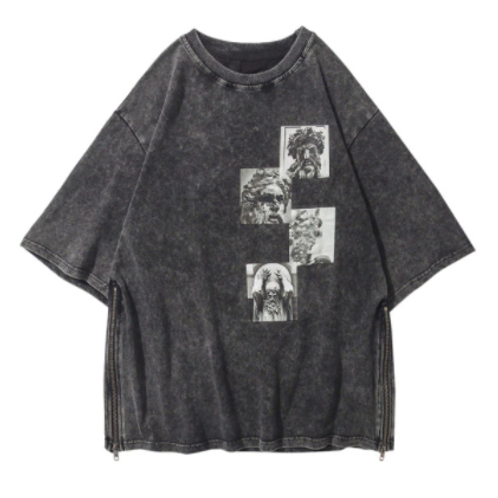 WASHED OUT GREY ZIP T-SHIRT