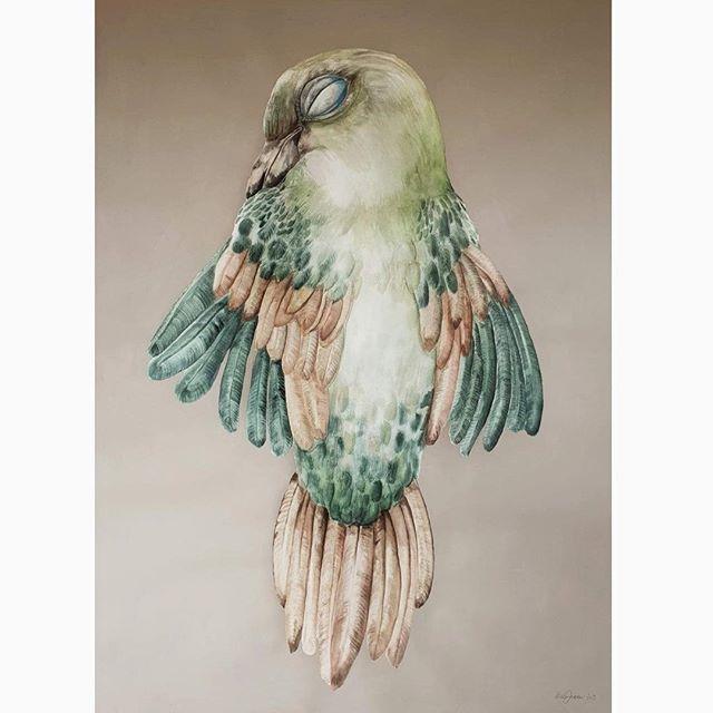 Bird III 103 x 135 cm. i egetræsramm