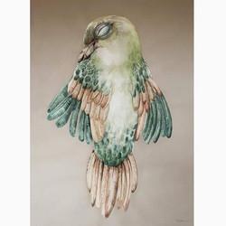 Solgt - Bird III 103 x 135 cm. i egetræsramm