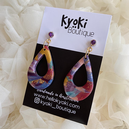 Marbled Fridah with goldfilled Amethyst earring