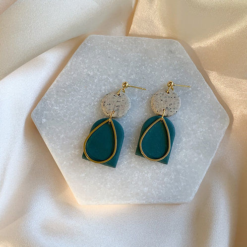 Brielle Stone and Teal and goldplated teardrop