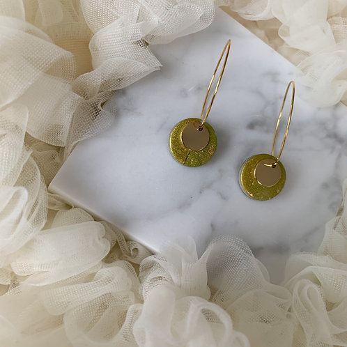 Golden Lime Sparkly Stud on a Hoop