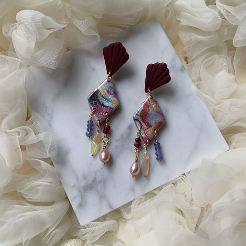Carra Magic with Tanzanites, Opals, Rubies and Blush pink Pearl