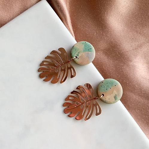 Rosegold Monstera Dangle