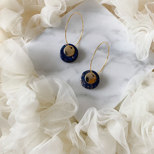 Studs on a hoop Navy Blue with specs of gold