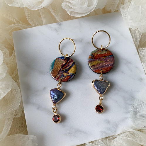 KAMALA with purple pearls and Garnet Charms with goldfilled circles