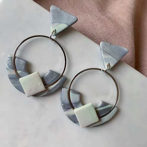 Silver KyokiHoops with a touch of Pastel