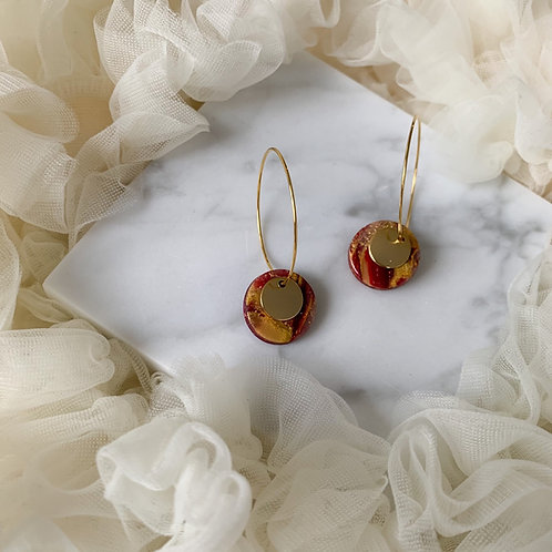 Red and Gold stud on a hoop