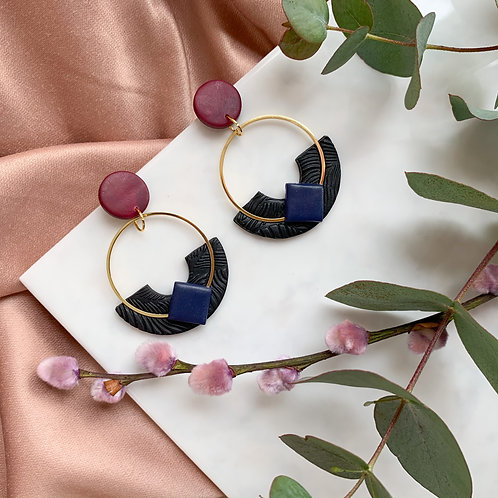 Kyoki Hoops in Navy and Wine Red