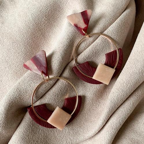 Rose Gold KyokiHoops in WineRed