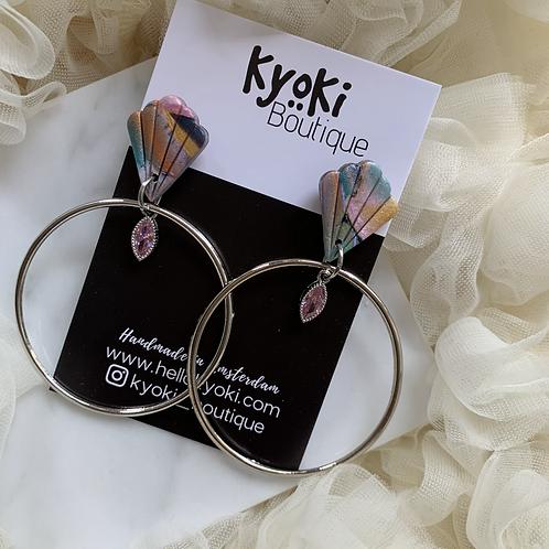 Silver Colored Summer Hoop, pink