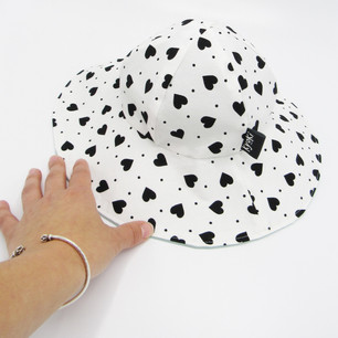 Monochrome Sunhat with Hearts