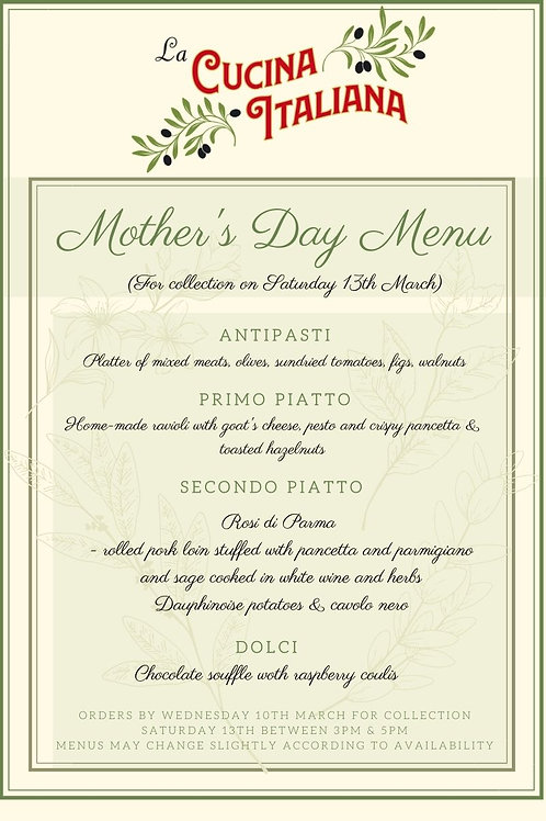 Mother's Day Menu for two