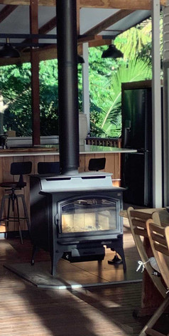 The large open deck at Jerrapark hosts a fireplace to keep you warm for the cooler month