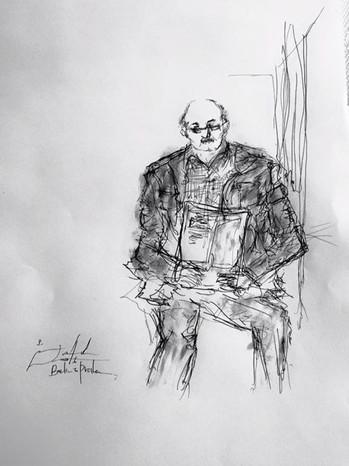 ベルリンからプラハへ向かう電車。_向かいの席に座る乗客を描いた。__彼が電車を降
