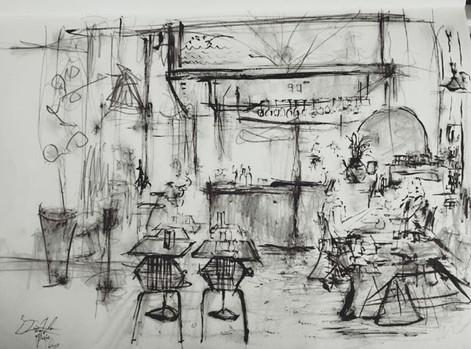 Galerie Vivienne入り口にある、ゴルチエの店舗が改装されたカフェ。