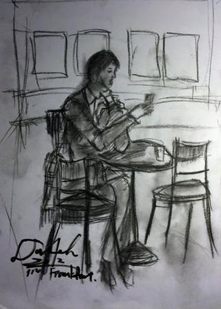 ドイツにいる時にカフェで描いた__海外でいつも孤独と共に訪れる不思議な充実感__
