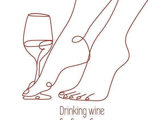 PETITE AFFICHE DRINKING WINE FEELING FINE