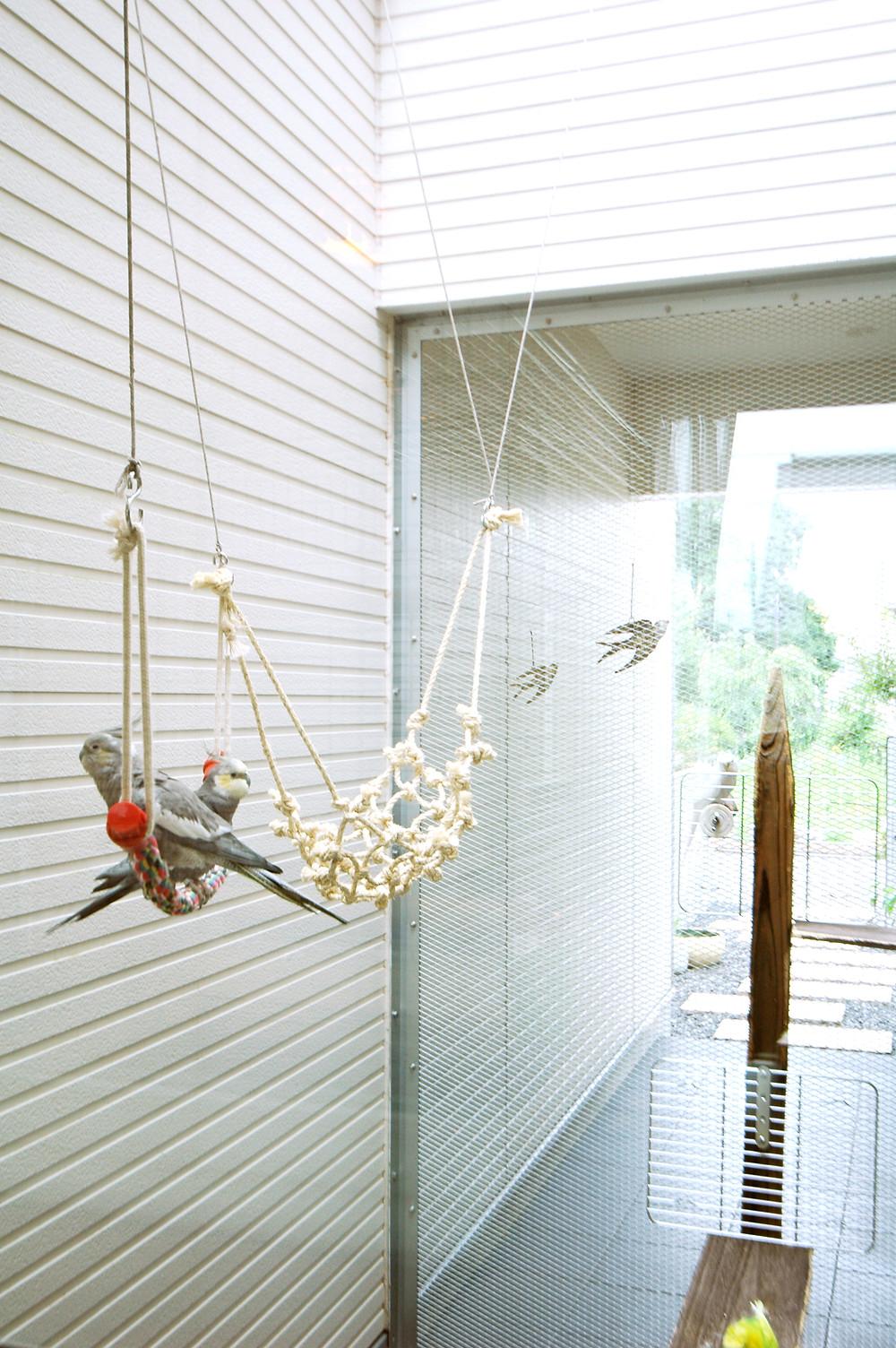 鳥かごを連想させるナカニワ。エクスパンドメタルを透かして見えるようになっている
