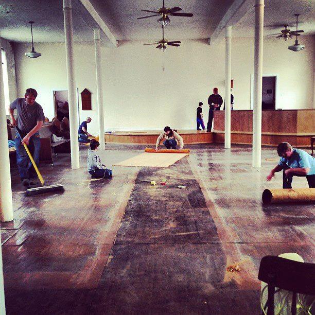 taking up carpets in sanctuary 2013.jpg