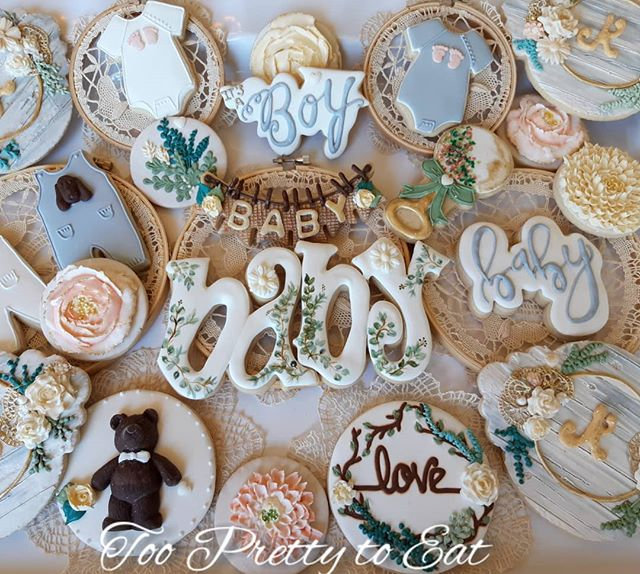Baby shower cookies, new cutters by Xime