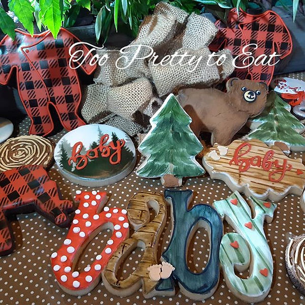 Lumberjack themed baby shower cookies_Ww
