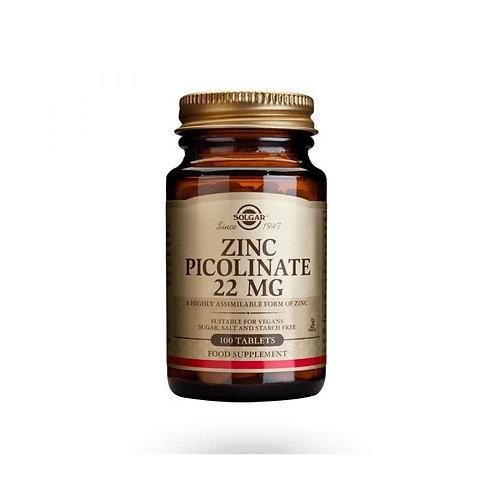 ZINCO PICOLINATE 22MG - 100 TABLETS - SOLGAR