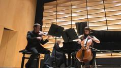 Warming up to play some Shostakovich & Brahms at Western (von Kuster Hall)