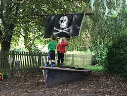 Pirate ship garden