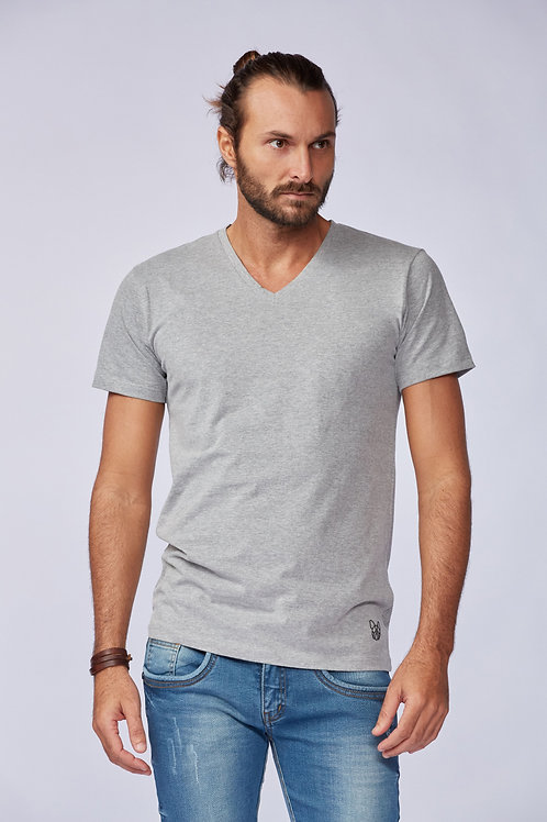 Camiseta Básica Gola V - Cinza