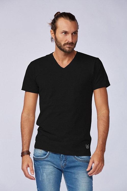 Camiseta Básica Gola V - Preta
