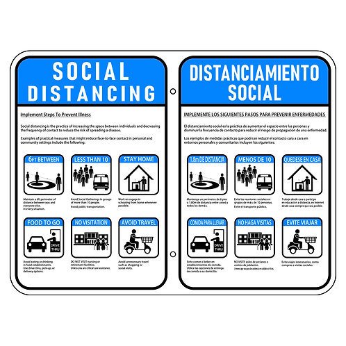 Social Distancing Sign - bilingual