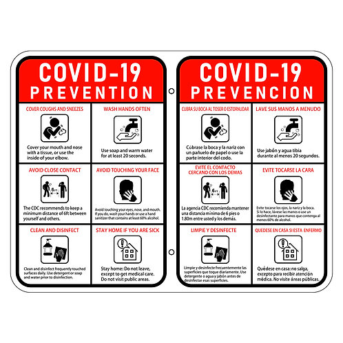 COVID-19 Prevention Sign -bilingual