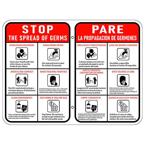 Stop the Spread of Germs Sign Vertical - bilingual