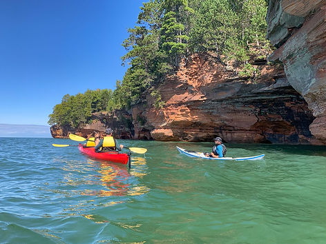 Kayak Guiding the Apostle Islands Sea Caves