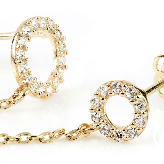 9ct Gold Chain Linked Gem Discs Double Stud Earring